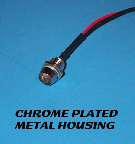 RED FLASHING LED 5mm PRE WIRED 12V CHROME BEZEL