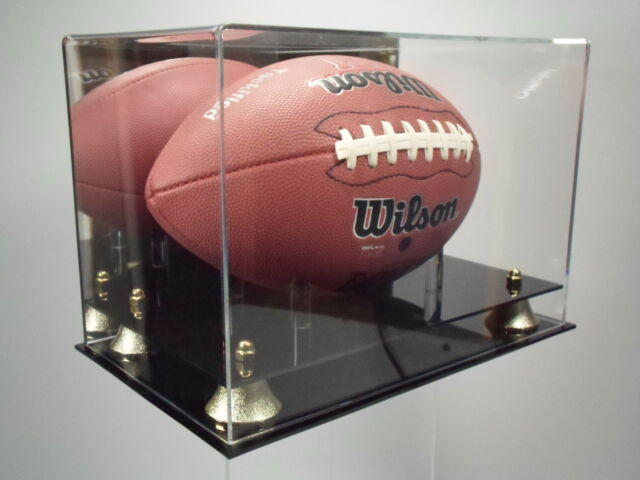 Football Display Case MIRROR BACK Full Size with two-tier black acrylic base