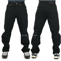 Mens Peviani jeans, black g denim pants, straight fit urban hip hop star loose