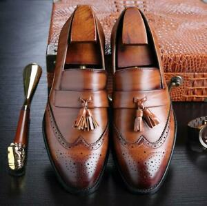 Mens-Pointed-Toe-Brogues-Tassel-Oxfords-Casual-Flat-Dress-Slip-On-Oxfords-Shoes