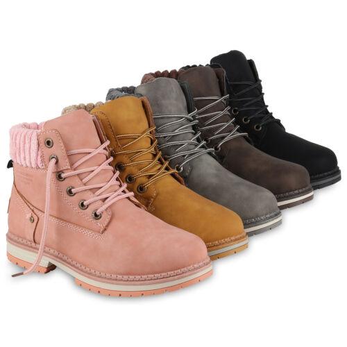 Damen Stiefeletten Worker Boots Kunstfell Nieten Outdoor 819537 Schuhe