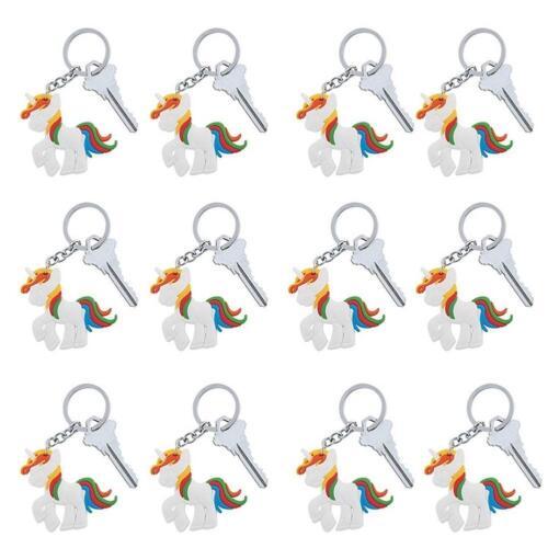 12 Licorne Keychains fête d/'anniversaire Goody Bag Set Douzaine Poney Thème Porte-clés