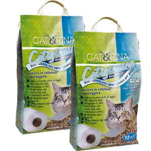 Lettiera Sabbia Gatto Biodegradabile Cellulosa 2x12lt Smaltibile Wc
