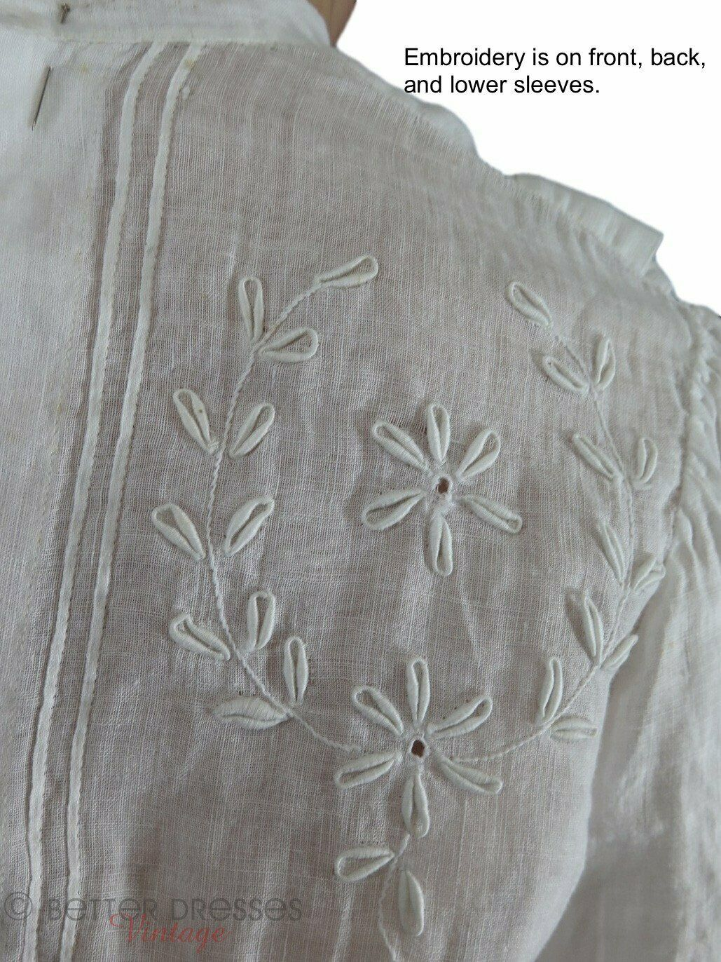 Antique Embroidered Blouse - xs, sm - image 2