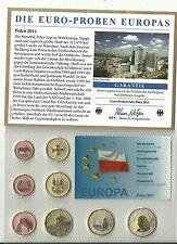 Polen 2011 Euro-Probenset 1 cent- 2 Euro im Blister Stempelglanz-Selten