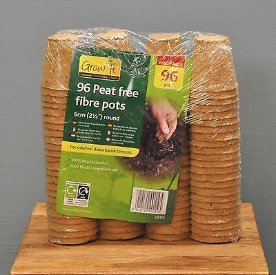96 x 6cm Biodegradable Fibre Peat Pots for Plant Potting, Seeds & Cuttings