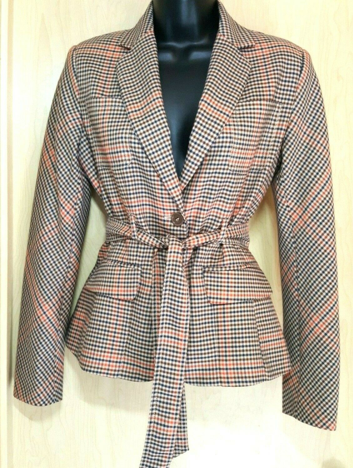 7th Ave Suiting Plaid Belted Career Blazer XS-S New York & Co bluee orange Brown