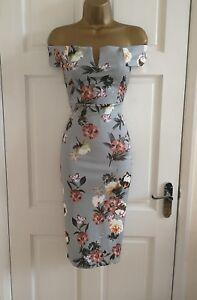 Para-mujeres-Damas-Nuevo-Estampado-Floral-Vestido-cenido-al-cuerpo-de-noche-Bardot-de-Gris-Talla-8