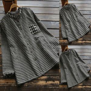 Mode-Femme-Chemise-Plaid-Boutons-Manche-Longue-Poche-Noir-Haut-Verifie-Plus