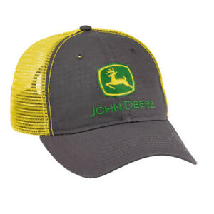 JOHN DEERE *CHARCOL & YELLOW MESH BACKING* CAP HAT *BRAND NEW*