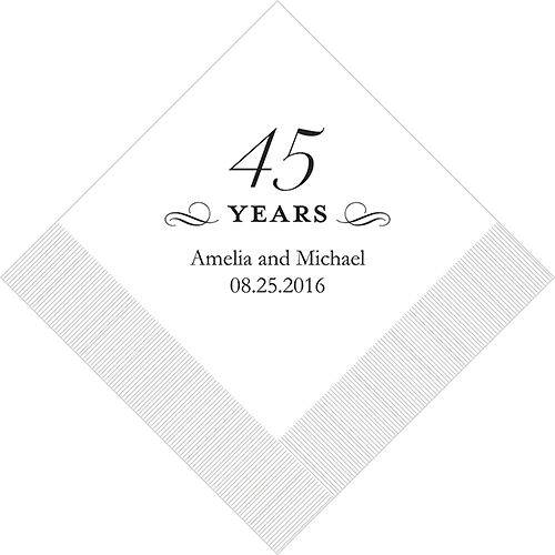 300 Printed 45th Anniversary Birthday Cocktail Napkins