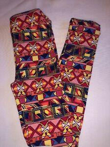 LuLaRoe Kids Leggings L//XL New Black W// Forest Green Red /& Orange Design BoxR