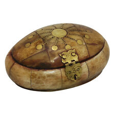 Real Hand Made Oval Camel Bone Box From Jerusalem With Brass Copper Decoration