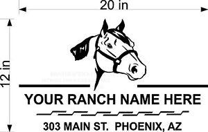 CUSTOM-VINYL-DECAL-RANCH-NAME-HORSE-HEAD-ROPE-BORDER