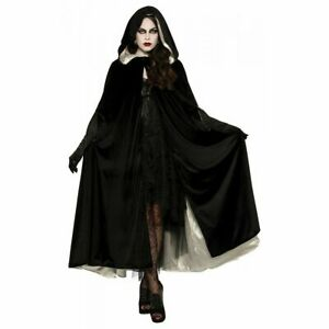 Details about  /Cloak Adult Reversible Velvet Hooded Robe Halloween Costume Fancy Dress