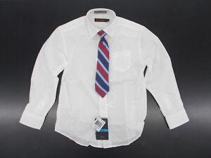 Boys Dockers $30 White Dress Shirt w/ Striped Clip-On Tie Size 4 - 10