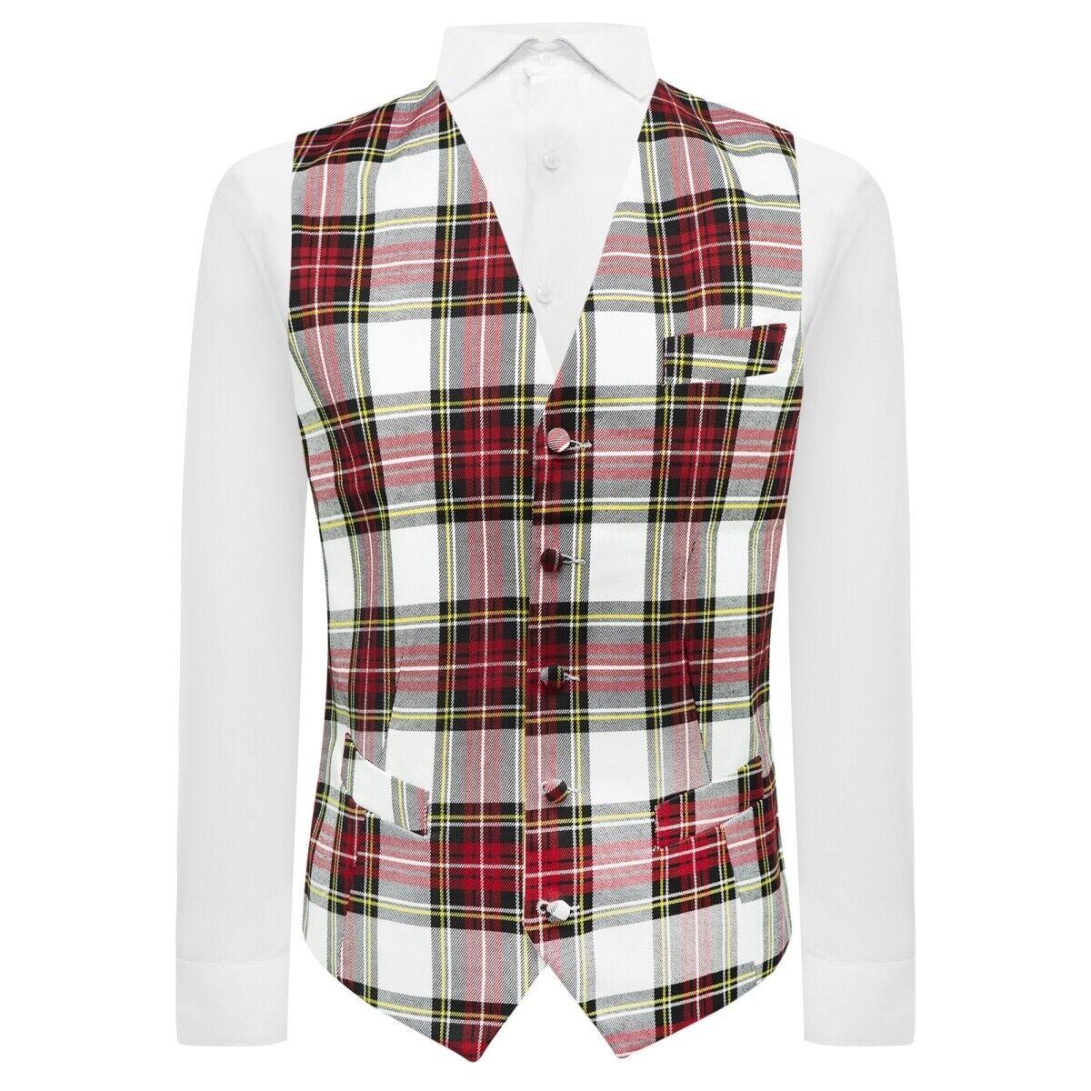 Traditional White Tartan Check Waistcoat, Plaid, Scottish