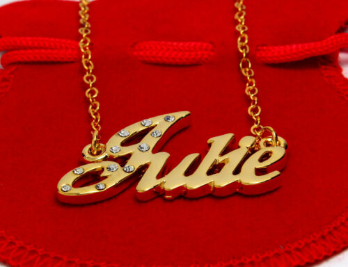 """Name Necklace /""""JULIE/"""" Birthday Wedding Accessories Stylish 18ct Gold Plated"""