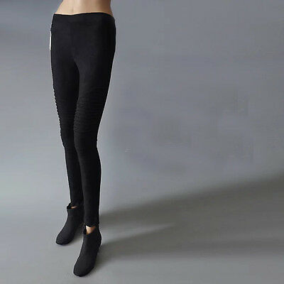Womens Faux Suede  Cashmere Leggings Stretch Skinny Pants MOTO Style Trousers