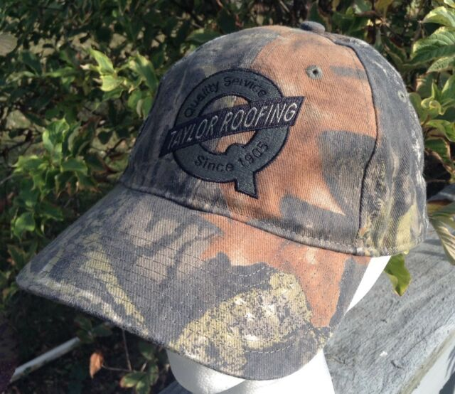 Taylor Roofing Camo Ball Cap Hat Adjustable Strap Advertising
