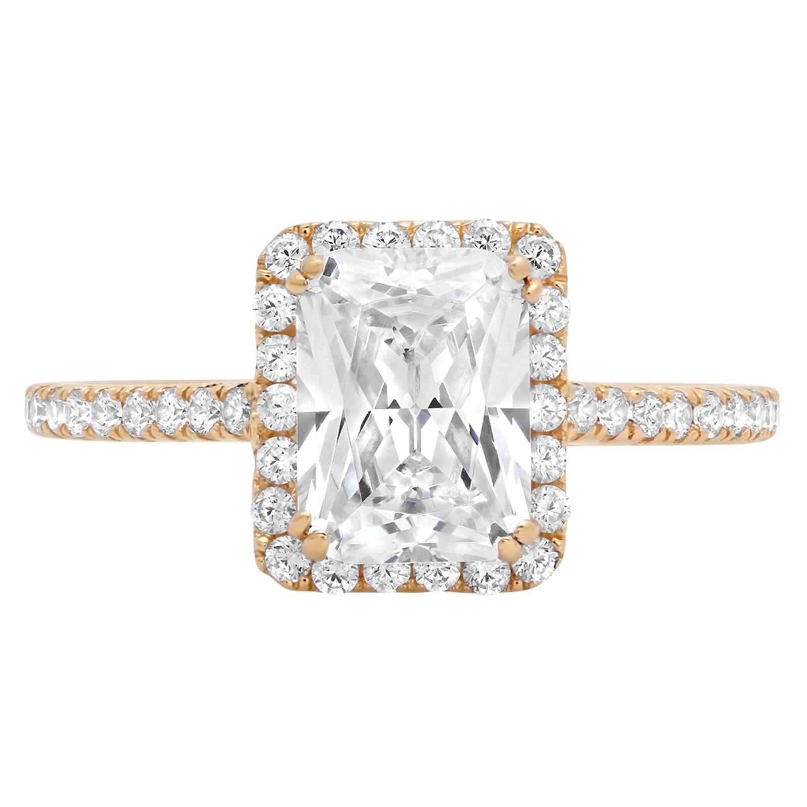 2.18ct Emerald Halo Wedding Promise Engagement Bridal Ring 14k Yellow gold