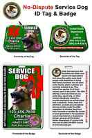 Service Dog Id Tag And Badge Combo Custom Photo Id For Pet Green