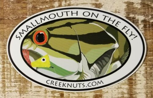 """FLY FISHING BUMPER STICKERS Smallmouth Bass /""""Smallmouth on the Fly!/"""" Decals Fish"""