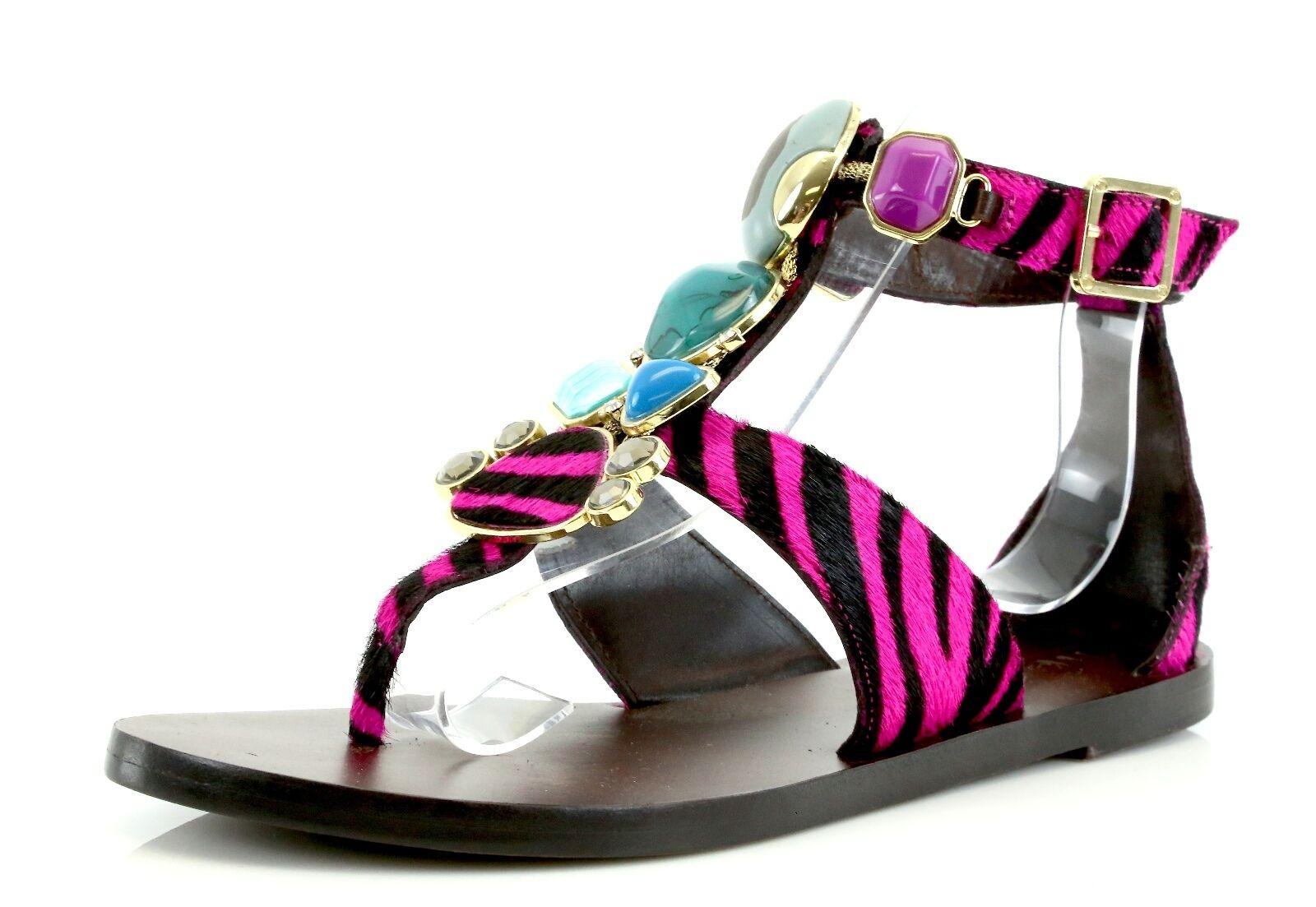 Miss.Trish STONED Pink Zebra Print Ankle Strap Sandals 7070 Size 8 M NEW