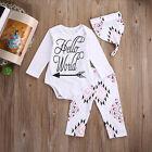 3PCS Infant Baby Boys Girls Long Sleeve Tops Pants Hat Cotton Romper Clothes Set