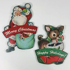 Retro-Christmas-Wall-Plaque-Decor-Select-Reindeer-or-Santa-Claus-Decorations