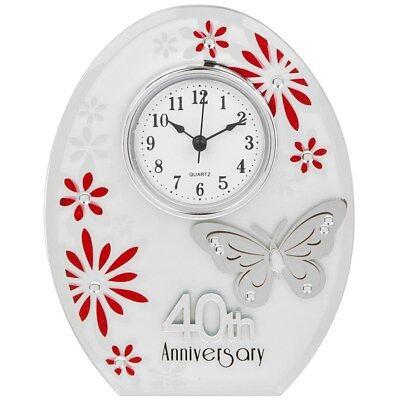 Coscienzioso Nuovo 40th Anniversario Di Matrimonio Orologio 40 Anni Di Marrage Ruby Anniversario Regalo Uk-
