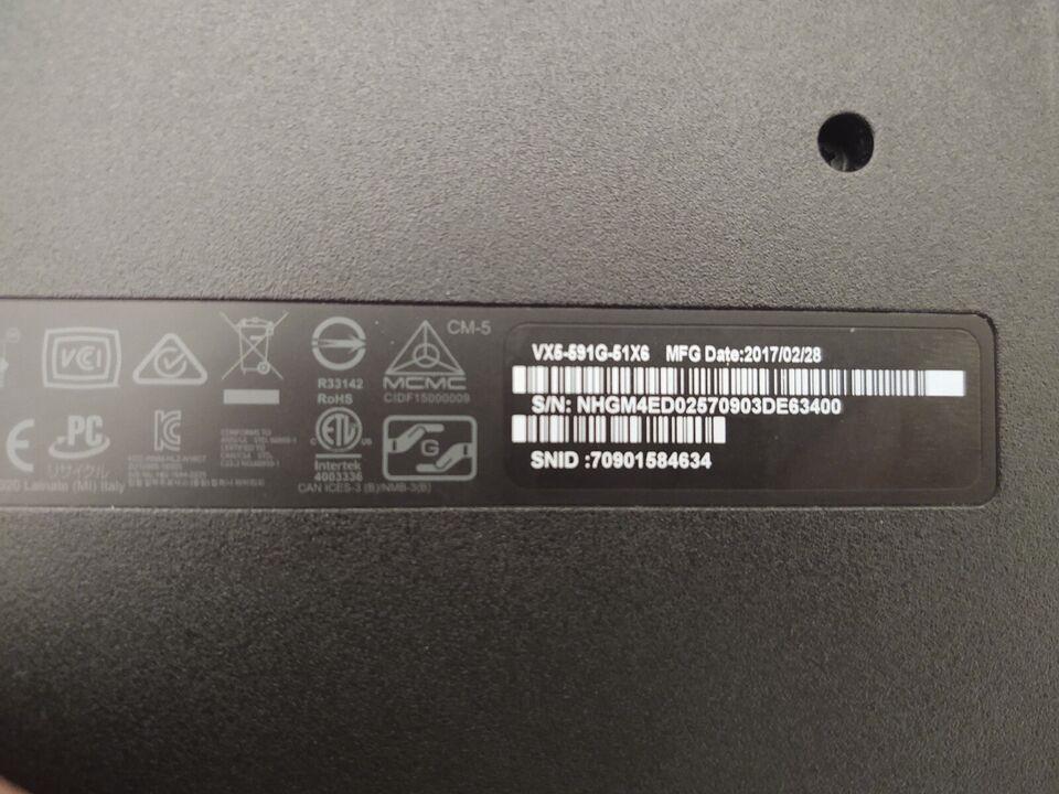 Acer VX5 GAMING, Intel Core i5-7300HQ GHz, 8 GB ram