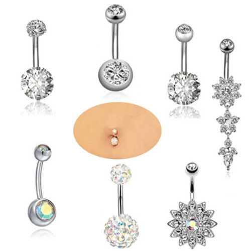 7PCS Stainless Steel Crystal Belly Button Rings Navel Body Jewelry Piercing   I