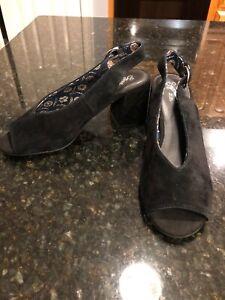 Seychelles-Slingback-Black-Suede-Open-Toe-Sandals-Size-7-5-NEW