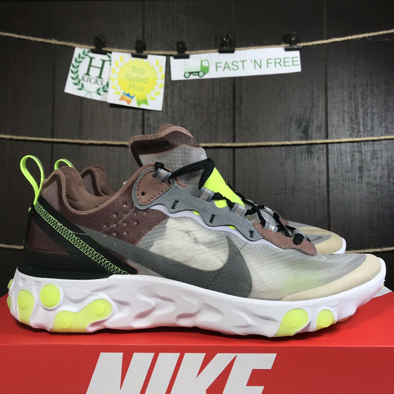 Nike React Element 87 Desert Sand Cool Grey Volt Brown White AQ1090 002 Size 8.5