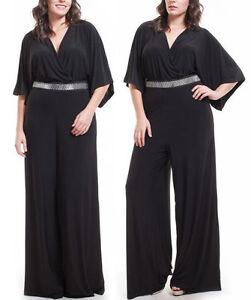 Plus Black V-Neck Kimono Sleeve Wide Leg Dress Jumpsuit Palazzo ...