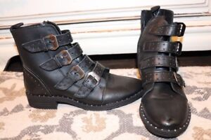1571f39bc02 Image is loading Steve-Madden-Womens-Pursue-Black-Motorcycle-Boots-Shoes-