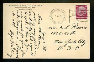 Postal-History-Germany-423-RPPC-Postcard-Bremen-Catapult-1935-Seapost-to-NY