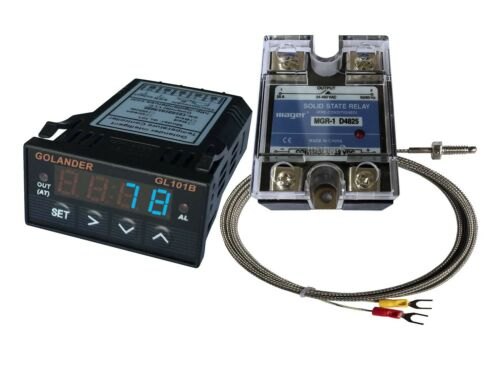Blue 24V DC 1//32DIN PID Temperature Controller K thermocouple 25A SSR