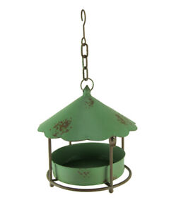 Vintage Green Round Metal Hanging Covered Tray Bird Feeder