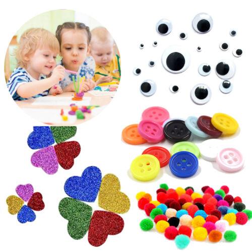 Enfants Artisanat Couleur Boutons pompons yeux doux paillettes en mousse autocollants activité