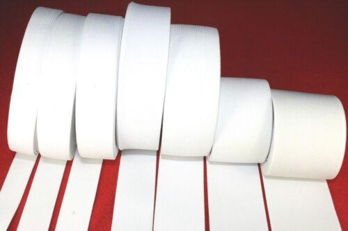 blanqueo de goma tren suave blanco//20//25//35//40 //// 50//60 mm 1 metros de cinta elástica