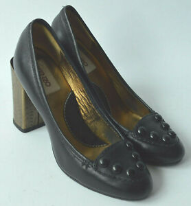 5e888fe0 Ladies Kenzo Black Leather Shoes With Gold Coloured Heels Size Uk 3 ...