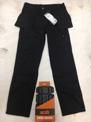 Hard Core Tough Grit Work Trousers Black Cargo Style Holster Pockets Knee Pkt