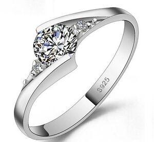 Para-Mujeres-Ninas-de-Plateado-Blanco-Oro-Cubic-Zirconia-Compromiso-Anillo-de-boda