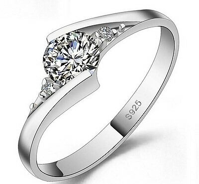 Women's/Girl's: Silver Plated White Gold Cubic Zirconia Engagement/Wedding Ring