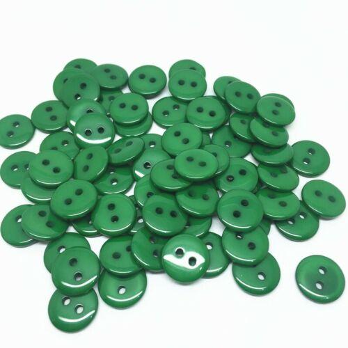 20 Bouton rond 11mm 2 trou vert Scrapbooking Mercerie couture art décoratif