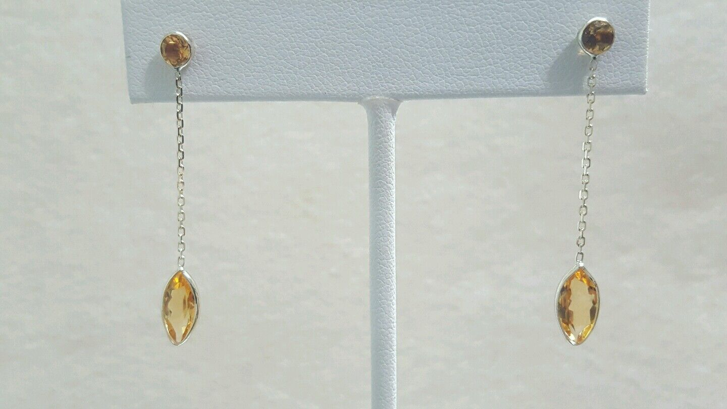 14K Yellow gold Dangling Earrings with Genuine Citrine stones
