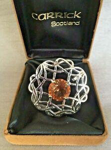 Vintage-Carrick-Silver-Tone-Celtic-Scottish-Brooch-Pendant-Citrine-Glass-amp-Box