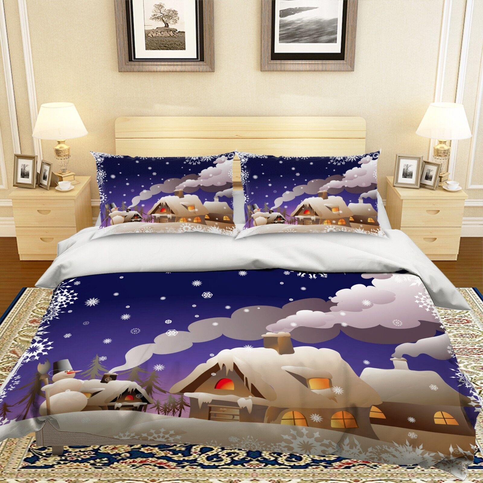 3D Christmas Xmas House 497 Bed Pillowcases Quilt Duvet Cover Set Single KingUK